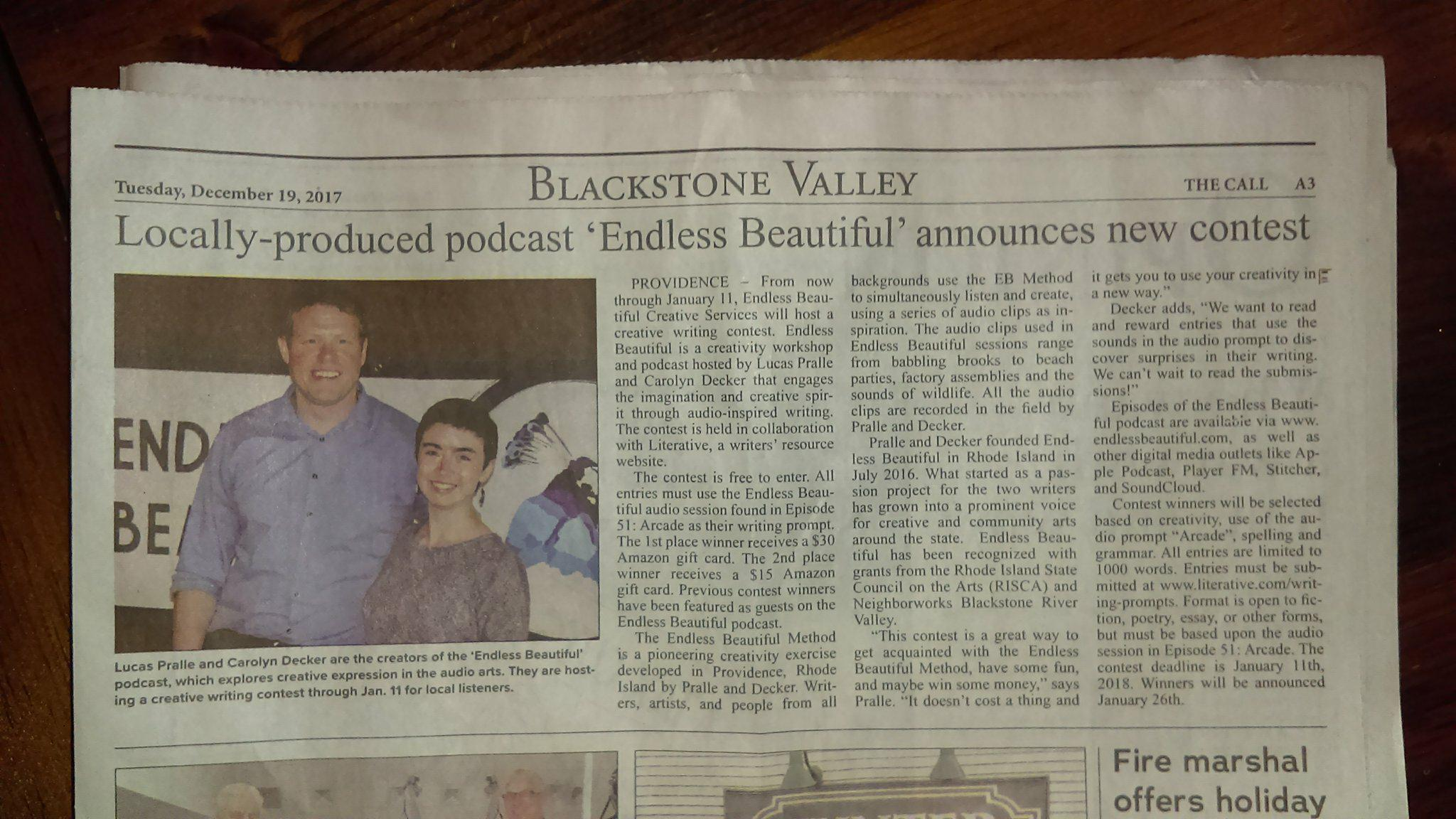 Woonsocket Call EB Article